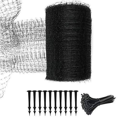 LAMF Kit de red de jardín de 6.9 x 98 pies, red resistente antipájaros, malla de malla para estanque, malla elástica, red duradera con 50 bridas de cables y 10 clavos para animales de ciervo