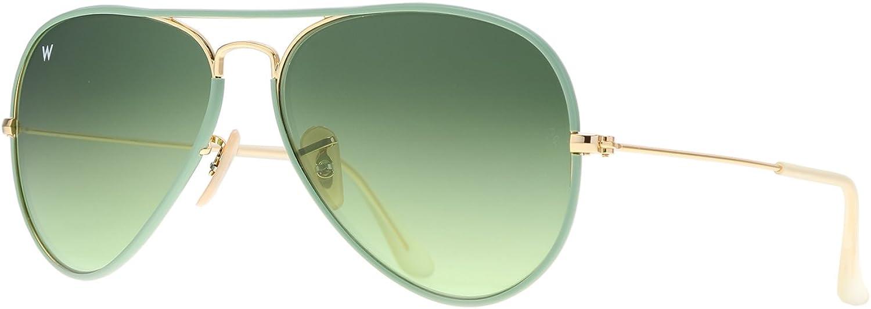 Wsunglass W925 001-3M Green Gradient Lens Men Women Aviator Sunglasses 58mm