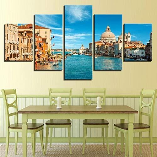 IKDBMUE Lienzo de Pared Art Imagen Paisaje de la Ciudad de Venecia Skyline para decoración del hogar de en 5 Piezas Pinturas Moderna Estirada y Enmarcado Arte Aceite