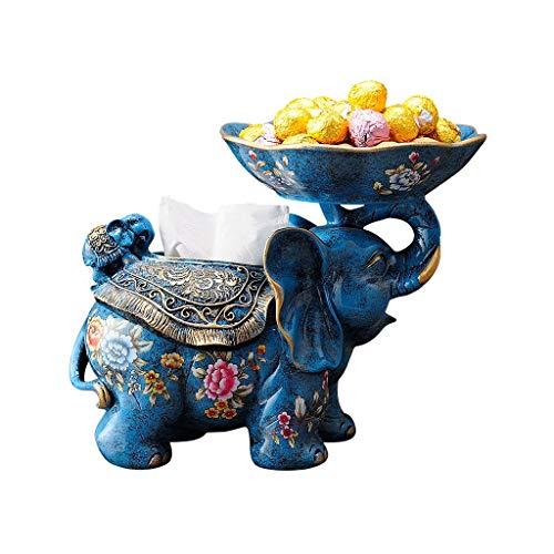 Bleu Plateau papier-style Éléphant D'européen Tissu Boîte Mignon Creative Ornement Décoratif Multi-fonction Plateau Salon Table Basse Table À Manger Boîte De Rangement