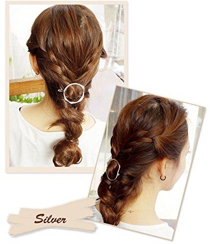 リトルムーンパッチン留めコンチャヘアピンシンプルサークルフレームピンヘッドアクセヘアアクセサリー髪飾り2シルバー