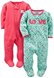 Simple Joys by Carter's Baby Girls paquete de 2 pies de algodón para dormir y...