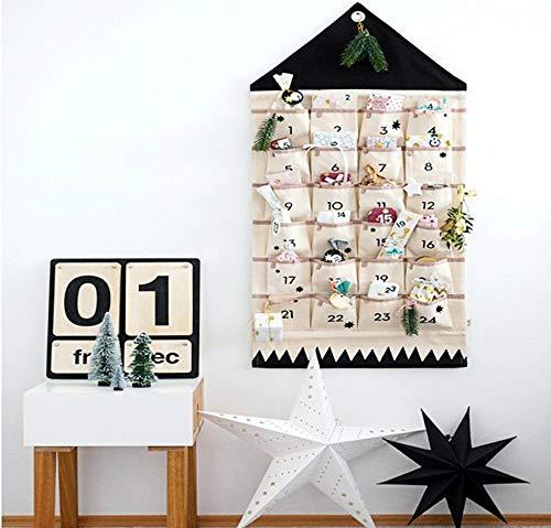 ZuoLan Adventskalender zum befüllen Weihnachten Kalender befüllbar,24 Taschen Stoff Weihnachtskalender zum Aufhängen Weihnachtlichen Ornamente (Schwarz)