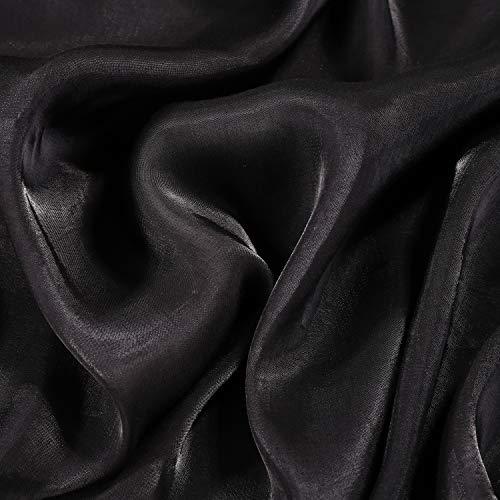 moonfarm 全16色 至高の輝き シルク 風 サテン 生地 カラー 約2m×幅1.5m (ブラック)