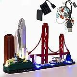 GEAMENT Versión actualizada Kit de luz USB para Architecture Skyline Collection San Francisco Golden Gate Bridge – Compatible con Lego 21043 Modelo de Ladrillos (Juego Lego no Incluido)