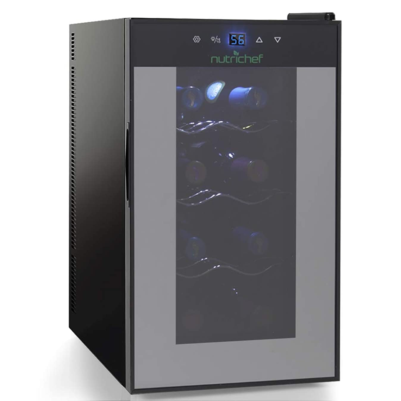 Nutrichef 8 Bottle Thermoelectric Wine Cooler Refrigerator | Red, White, Champagne Chiller | Counter Top Wine Cellar | Quiet Operation Fridge | Touch Temperature Control