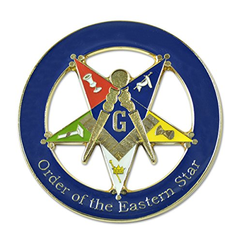 Patron Order of the Eastern Star Round Masonic Auto Emblem - [Blue & Gold][3'' Diameter]