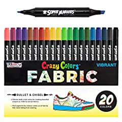 20 UNIQUE COLORS: A full rainbow of 20 unique eye-catching colors at your disposal. Crazy Colors fabric markers dry permanent and have rich vibrant pigments for intense colors on all fabrics and they resist fading from washing. BULLET AND CHISEL TIPS...