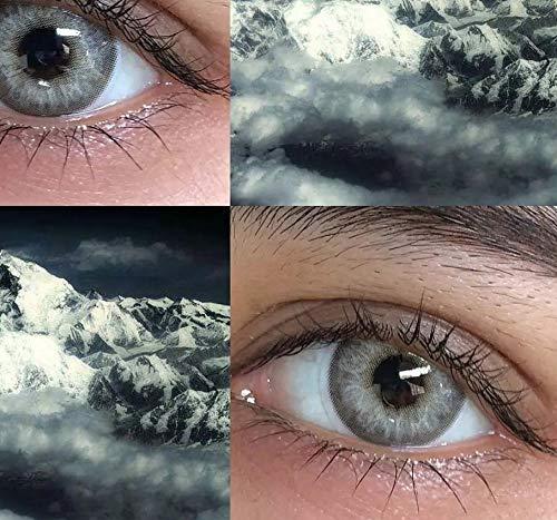 2 Stück/Paar Super Hybrid Himalaya Farbige Kontaktlinsen for die Augen Kosmetik Kontakte Augen Make-up, 0.00 Dioptrien (Farbe : Himalaya Gray, Größe : 0)