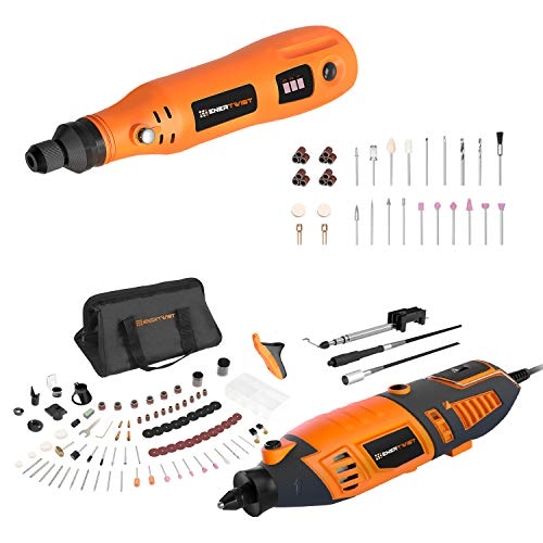 EnerTwist ET-RT-170 1.4A Rotary Tool and ET-RT-4 4V Cordless Rotary Tool Combo Kit
