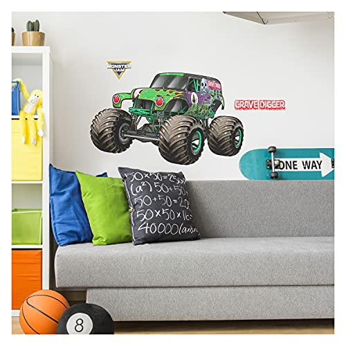 """Monster Jam Grave Digger Wall Decal - Monster Jam Wall Decals with 3D Augmented Reality Interaction - 17"""" Tall x 28"""" Wide Monster Jam Grave Digger Monster Truck Wall Decals"""