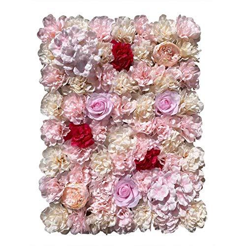 Fetcoi 20 piezas de pared de flores artificiales para pared de rosas, fondo de seda para manualidades, bodas, calle, fondo de flores falsas, hortensias, panel de pared DIY