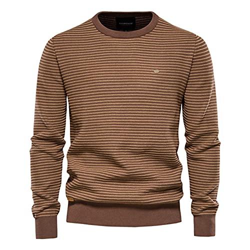 SSBZYES Suéter para Hombre Suéter De Contraste De Rayas para Hombre Suéter De Rayas con Cuello Redondo Delgado para Hombre Jersey para Hombre Camisa De Fondo De Punto