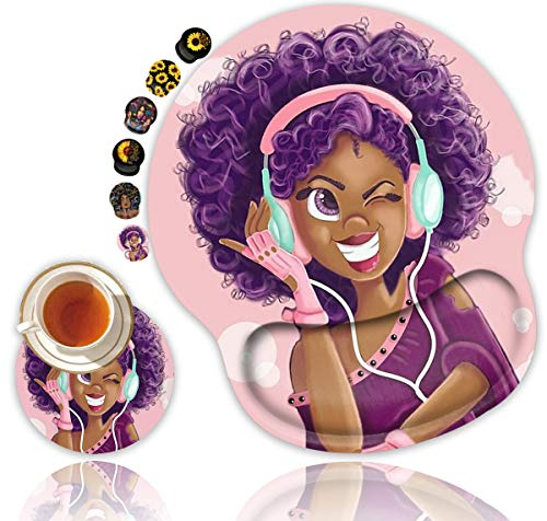 Ergonomic Mouse Pad with Gel Wrist Rest Support, Non Slip PU Base Mouse Pad Wrist Rest for Computer, Office Gaming, Working, Pain Relief (African American Women Purple Hair Girl) + Cup Coaster