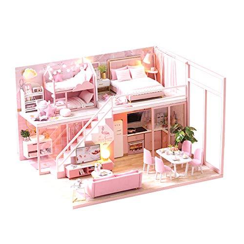 moin moin ドールハウス ミニチュア 手作りキット セット 二階建て ドリームハウス 現代モダン   子供部屋 うさぎ ファンシー   1/24 中型   LEDライト + アクリルケース 付属 (ピンク) 2008DH195