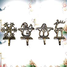 LITTLEGRASS Set of 4 Classical Christmas Stocking Holder Metal Christmas Stocking Hangers for Fireplace Mantle Free Standing Christmas Decorations Indoors Decorations