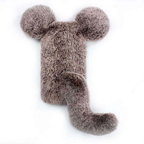 Miagon Maus Schwanz Handyhülle für Huawei P10 Lite,Super Weich Winter Warm Lustig Kunstpelz Plüsch Fluffy Flexibel Handytasche Schale Case,Braun
