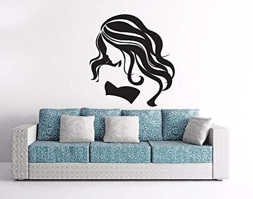 Vinyl muursticker voor meisjes met hot hair salon-details, schaar, kam voor woonkamer, decoratie
