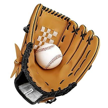 SKL Guante de béisbol Guantes de bateo Deportivo Guante de Catcher con Béisbol de Cuero PU 10.5 Pulgadas 12.5 Pulgadas para niños Adultos (12.5'')