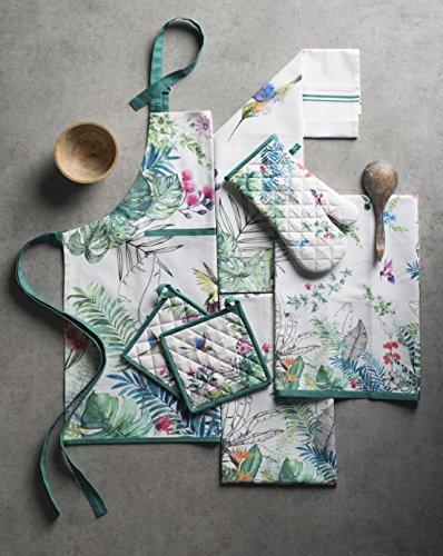 Maison d' Hermine Tropiques 100% Cotton Kitchen 1 Piece Kitchen Apron with an Adjustable Neck & Hidden Centre Pocket…