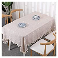 Tablecloth Rectangular Coffee Table Tablecloth Home Cotton Linen Tablecloth Cafe Tassel Plaid Tablecloth (color : BROWN, Size : 110 * 110cm)