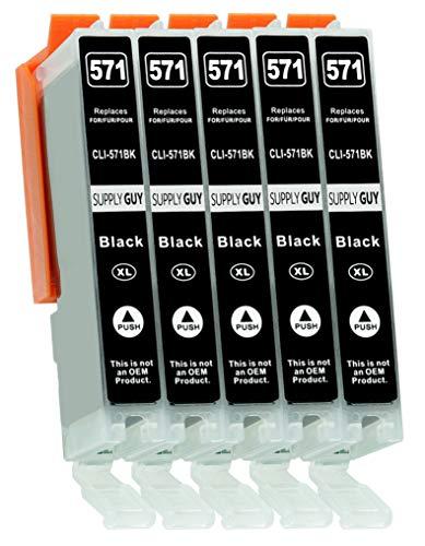 Supply Guy 5 XL Druckerpatronen mit Chip kompatibel mit Canon CLI-571 Schwarz schmal für Pixma MG5700 MG5750 MG5751 MG6800 MG6850 MG7750 TS5000 TS5050 TS5055 TS6050 TS8050 TS9050 TS9055 und weitere