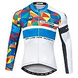 Panegy Camieta Ciclisma Manga Larga Hombre Maillot Ciclismo con Cremallera Elástico Cómodo Jerseys de Bicicleta MTB Blanco-Azul XXL