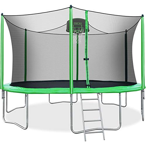 Merax 14FT 15FT Trampoline with Enclosure Kids Trampoline with Basketball Hoop, Ladder and Backboard Net (14FT-Green)