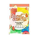 I WANT CANDY - Premium Zucker für bunte Zuckerwatte mit Geschmack | 4x200g - Apfel - Blaubeere - Banane - Bubble Gum | Ideal für jede Zuckerwattemaschine geeignet | 800 Gramm gesamt