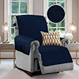 GORILLA GRIP Original Velvet Slip Resistant Luxury Recliner Slipcover Protector, Seat Width Up to 26 Inch Patent Pending, 2 Inch Straps, Hook, Furniture Cover for Pets, Dog, Kids, Recliner, Navy Blue