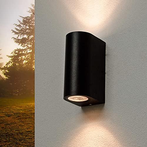 Moderne Wandlampe Schwarz AALBORG Up Down IP44 GU10 Außenleuchte Haus Terrasse Gartenbeleuchtung