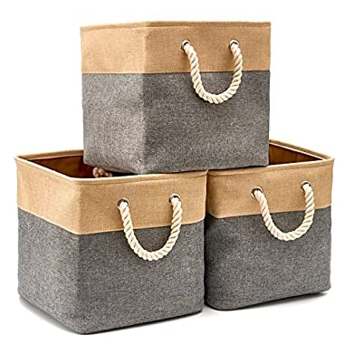 EZOWare Collapsible Storage Bin Cube Basket [3-Pack] Foldable Canvas Fabric Tweed Storage Bin Set With Handles For Home Office Closet (13 x 13 x 13 inches) (Gray)