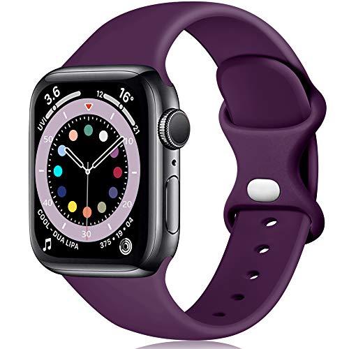 Epova Compatible con Correa Apple Watch 42mm 44mm, Mujer Hombre Silicona Pulsera para iWatch SE Series 6 5 4 3 2 1, Morado Oscuro, Pequeño