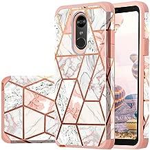 Fingic LG Stylo 4 Case, LG Stylus 4 Case, LG Stylo 4 Plus Case,LG Q Stylus Case, Rose Gold Marble Design Glitter Bumper Hard PC Soft Rubber Shockproof Protective Phone Case Cover for LG Stylo 4 2018