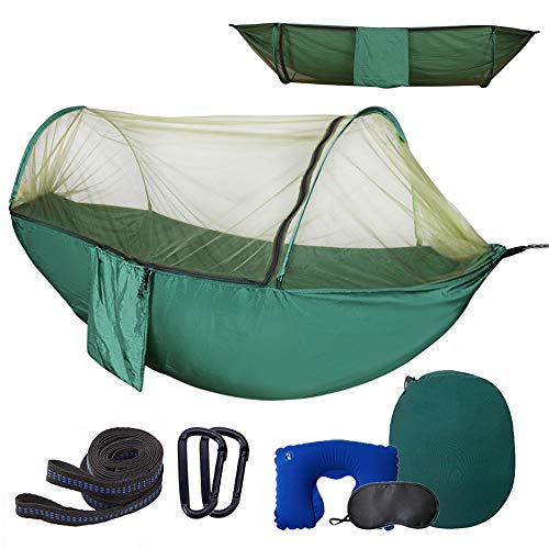Camping Hammock with Mosquito Bug Netting,Packable Hammock with Tree Straps and Carabiners,Parachute Nylon Hanging Hammock for Backpacking,Survival,Travel & More(Single & Double)-Full Mesh&Dark Green