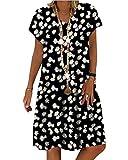 Yesgirl Vestidos De Fiesta para Bodas Talla Grandes Vestidos Manga Corta con Cuello En V Cubre Verano Mini Playero De Playa Mujer Vestidos Casuales Vestido Midi Vestido Sin Collar C Negro XXL