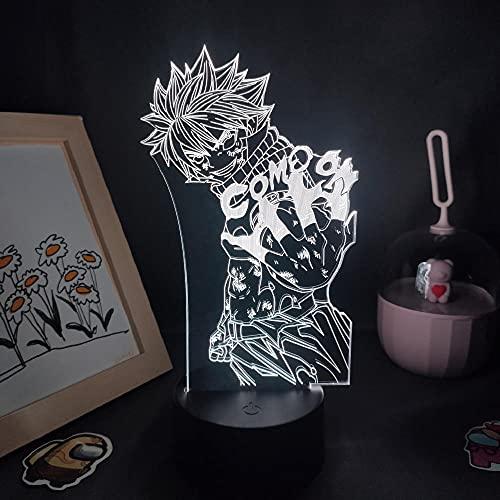 3D Led Luz de noche Talbe Illusion Lamp Anime Fairy Figura Figura Etherious Natsu Dragneel Final Rgb Manga Room Decoration-Black Base_No Remote