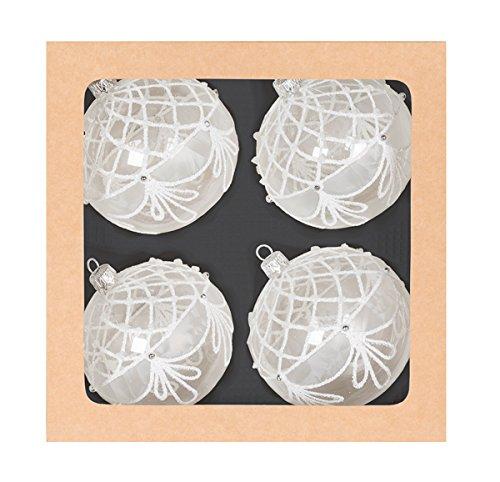 Boule en verre Assortiment cristal/blanc, 4 pièces, soufflé et handdekoriert 8 cm FHS-International Arbre à bijoux style arbre Bijoux