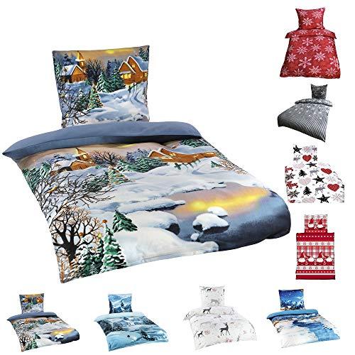 Leonado Vicenti Winter Flausch Bettwäsche Weihnachten Motive Microfaser Thermo Fleece, 2X 135x200 cm + 2X 80x80 cm Nacht