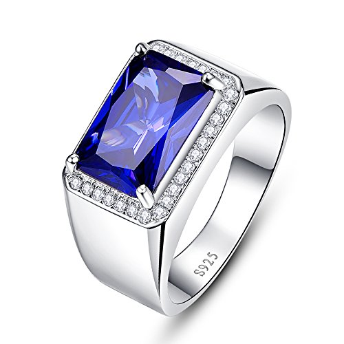 Bonlavie - Anello da uomo in argento Sterling 925 con zaffiro blu da 7 ct, taglio quadrato, per matrimonio e Argento, 70 (22.3), cod. 028R16