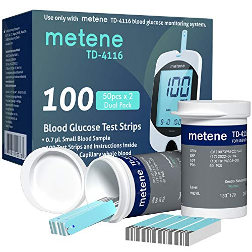 Metene TD-4116 Blood Glucose Test Strips, 100 Count Blood...