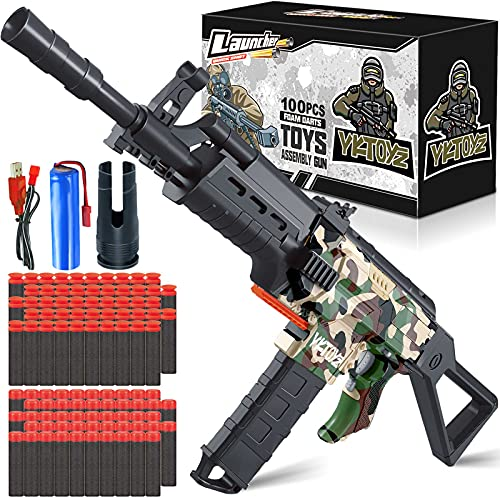 YKToyz Motorized Blaster Toy Gun Compatible with Nerf, 3 Burst Modes Automatic Toy Foam Blaster Gun with 100 Pcs Soft Darts Electric DIY Toy Guns Birthday Gifts for 6+ Years Old Boys Girls Teens