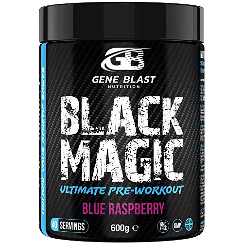 Gene Blast-Black Magic Pre-Workout Powder, Anti-Crash Formula – Energy Blast, Instant Strength Gains, Sharp Focus, Powerful Pumps Nitric Oxide Booster, 600g 40 Servings (Blue Raspberry)
