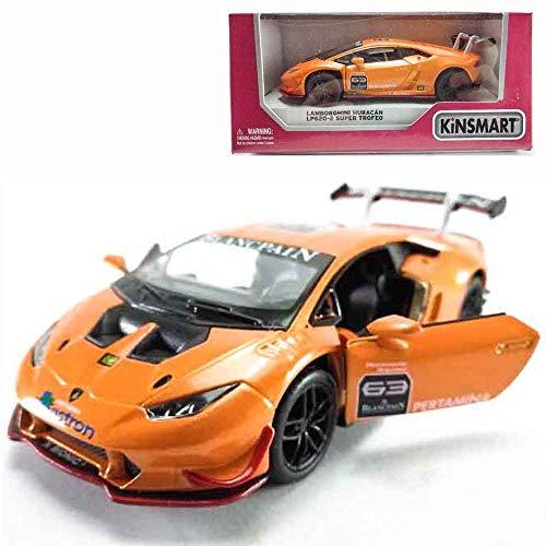 Kinsmart Die-Cast Car 1:36 Lamborghini Huracan LP620-2 Super Trofeo Car Orange Color Model Friction Toys with Box Collection