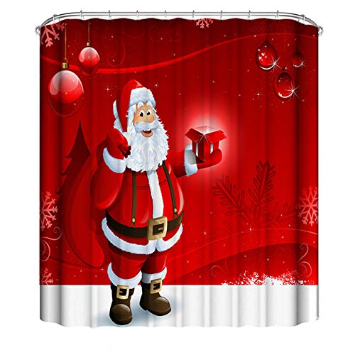 panthem Duschvorhang mit Weihnachtsmann-Motiv, 180 x 200 cm, wasserdicht, mit 12 Duschvorhang-Haken (180 x 200 cm)