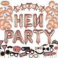 JUSTIDEA 94Pcs Rose Gold Hen Party Decorations Accessories,…