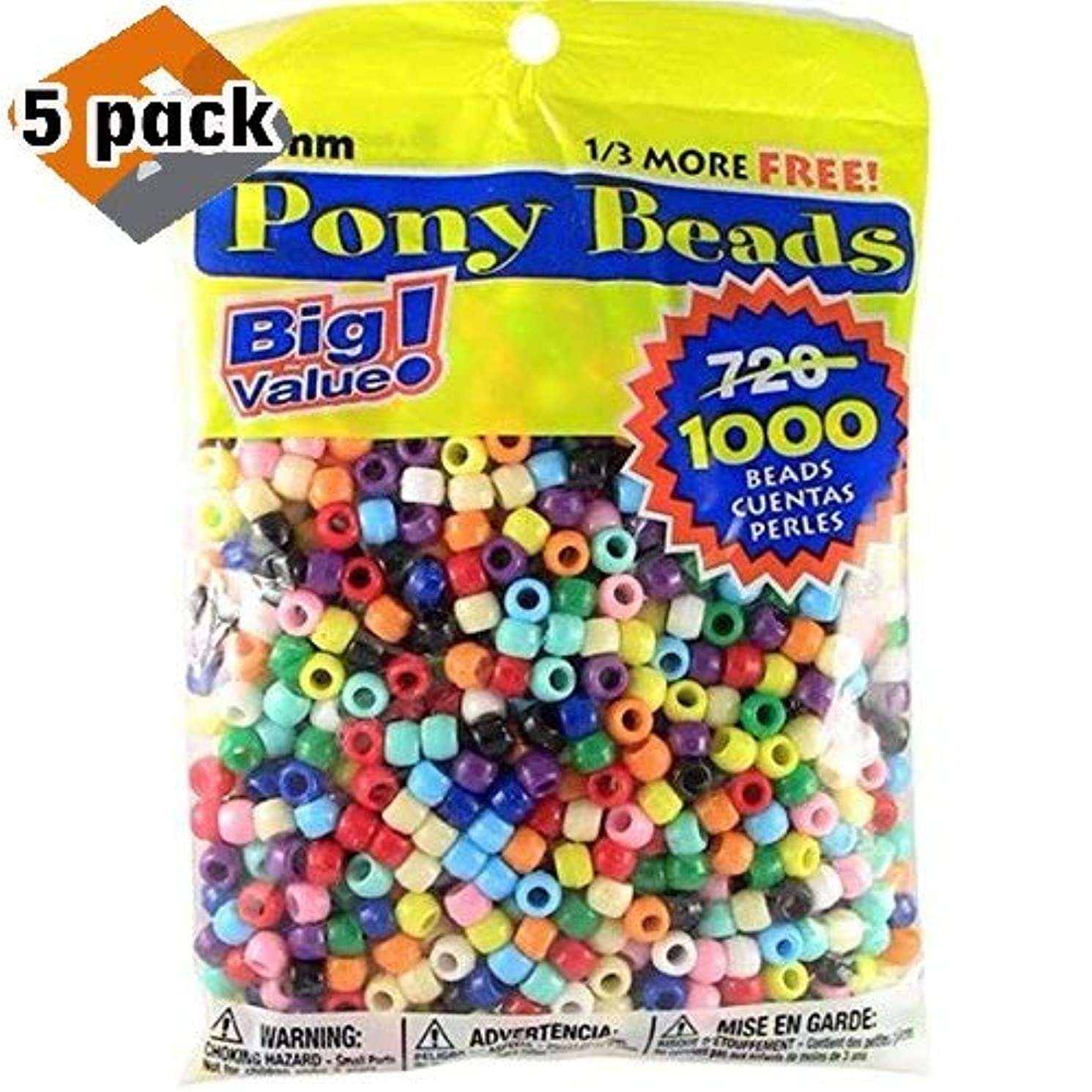 Darice Pony Beads Multi Color 9mm 1000 Pcs in Bag, Pack 5