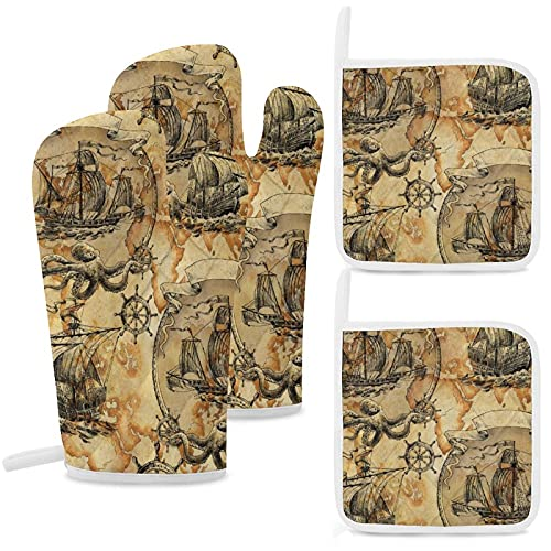 ERDG Guantes aislados, almohadillas de algodón antideslizantes y reutilizables para cocinar, hornear, asar y microondas, juego de cuatro piezas amarillo náutico barco pulpo