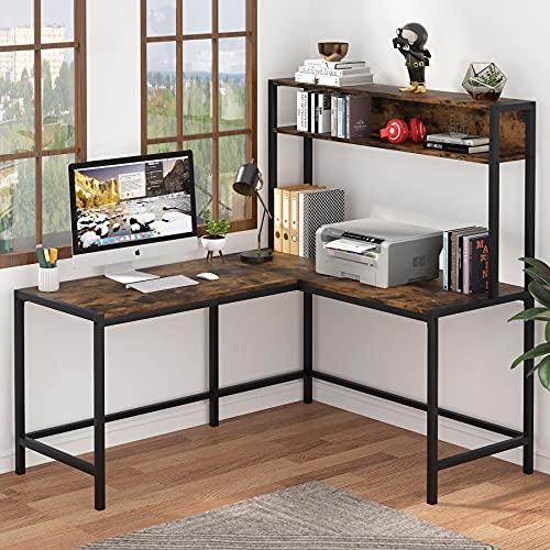 Biurko komputerowe w kształcie litery L, Tribesigns dom biuro biurko, biurko narożne do biura, domowe biurko do gier z półką do przechowywania, duża stacja robocza do pisania (brązowy)
