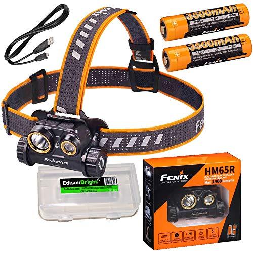 Fenix HM65R Dual-Beam 1400 Lumen LED Scheinwerfer, 2 x Hochleistungs-Batterien mit EdisonBright Akku-Tragetasche.
